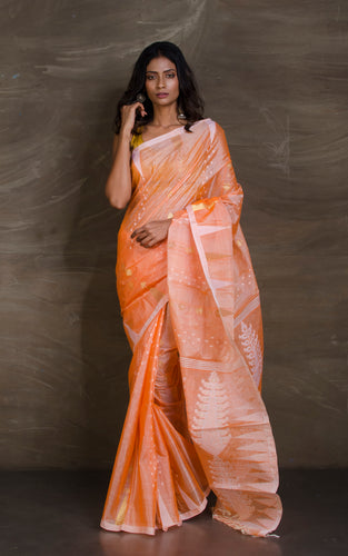 Handloom Tussar Silk Jamdani in Carrot Orange, White and Gold from Bengal Looms India