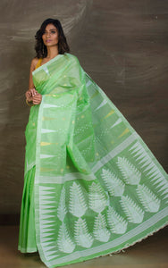 Handloom Tussar Silk Jamdani Saree in Parakeet Green, White and Gold