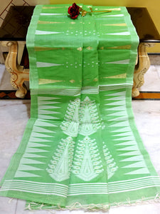 Handloom Tussar Silk Jamdani Saree in Parakeet Green, White and Gold from Bengal Looms India