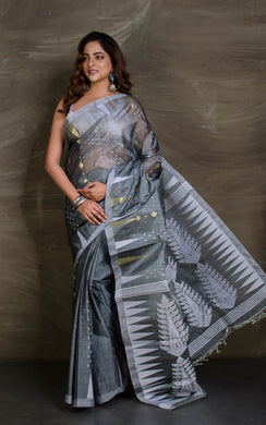 Handloom Tussar Silk Jamdani in Charcoal, White and Gold - Bengal Looms India