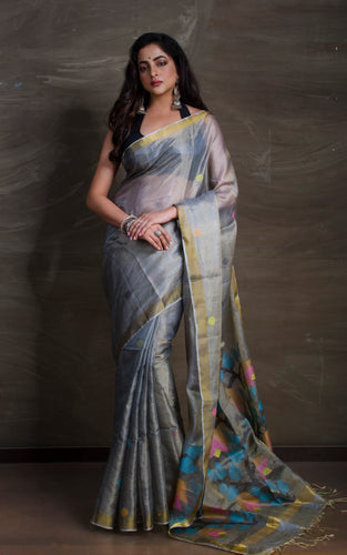 Tissue Tussar Jamdani Saree in Grey and Gold from Bengal Looms India