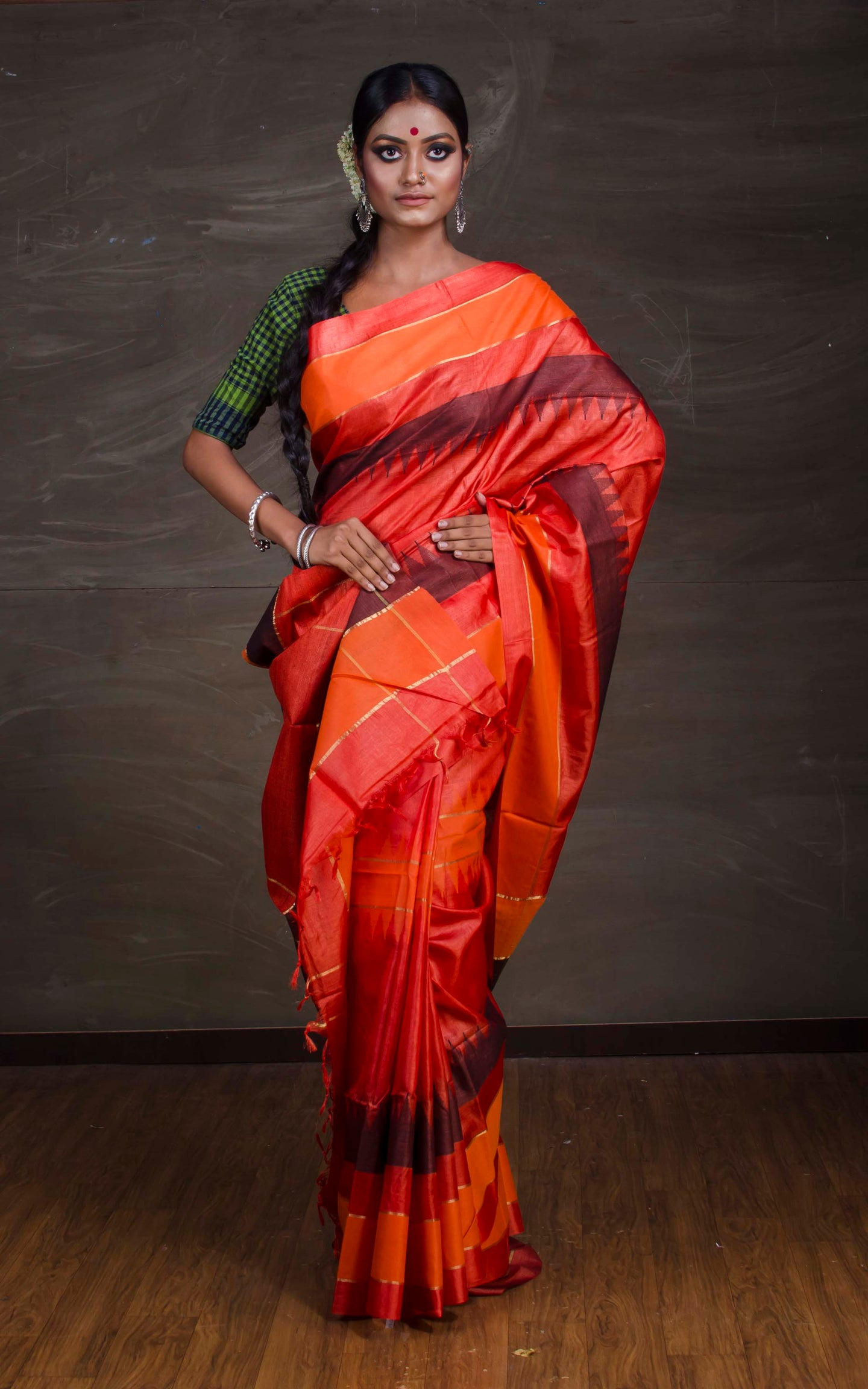 Pure Tussar Silk Saree in Rusty Orange from Bengal Looms India
