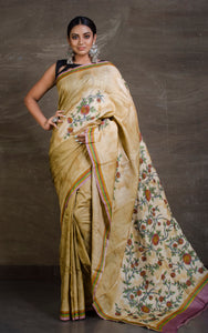 Hand Work Soft Tussar Silk on Digital Print Base in Beige and Multicolored from Bengal Looms India
