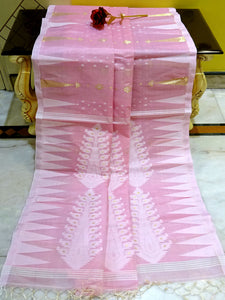 Handloom Tussar Silk Jamdani Saree in Baby Pink, White and Gold from Bengal Looms India