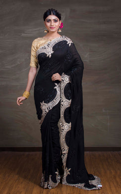 Designer Semi Tussar Saree in Black from Bengal Looms India