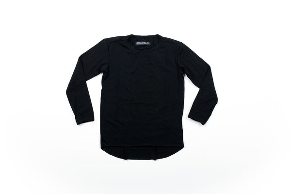Raw Edge Elongated Tee - Black
