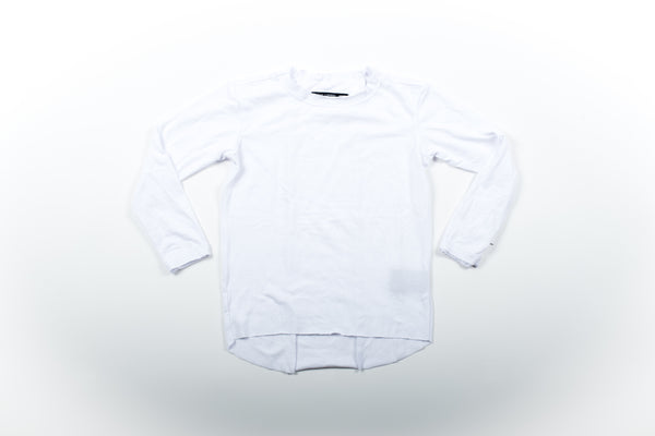 Raw Edge Elongated Tee - White