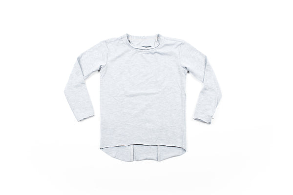 Raw Edge Elongated Tee - LT Grey Mix