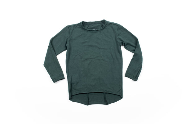 Raw Edge Elongated Tee - Pine