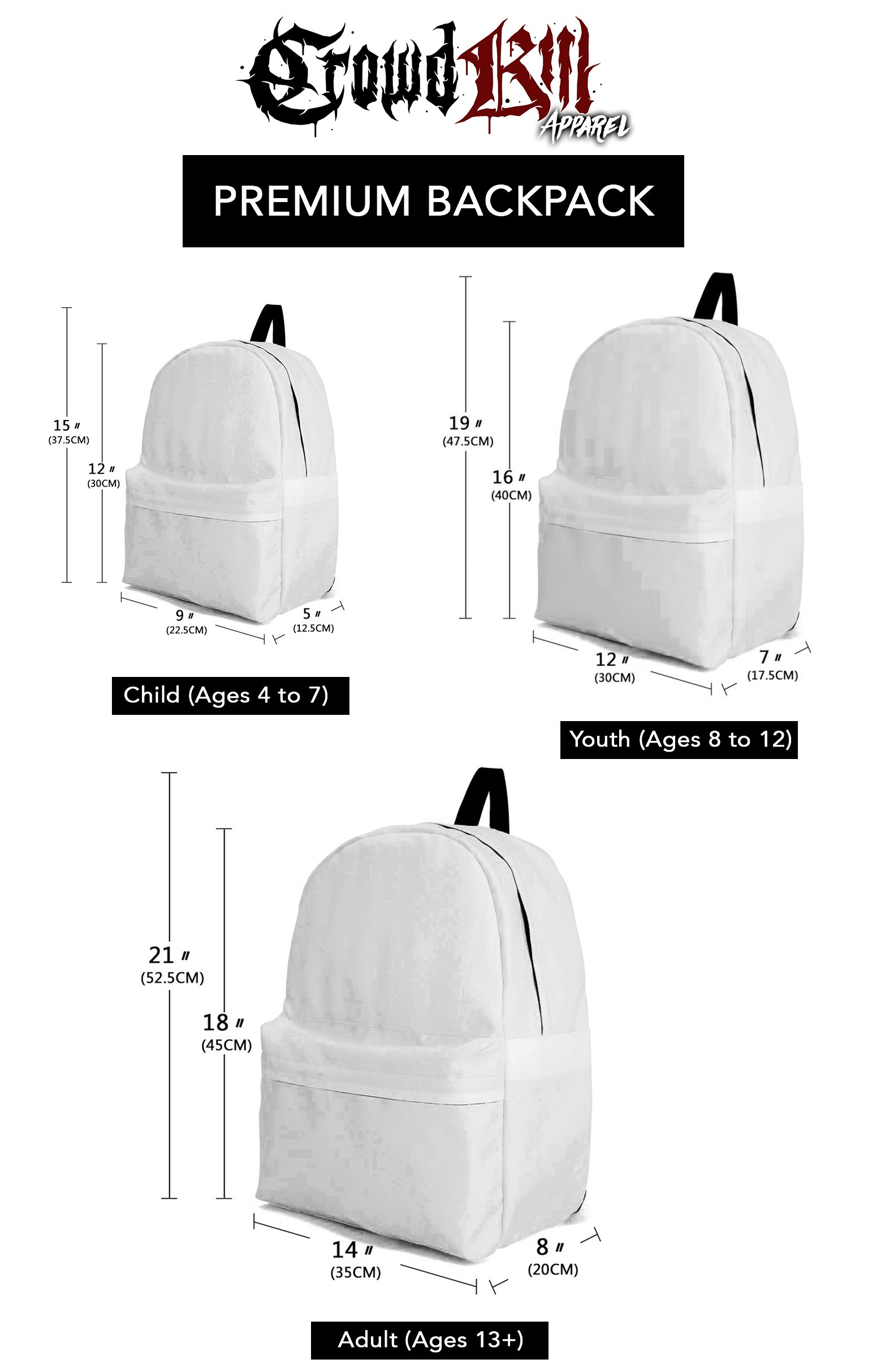 Crowdkill Apparel Backpack Sizing Guide