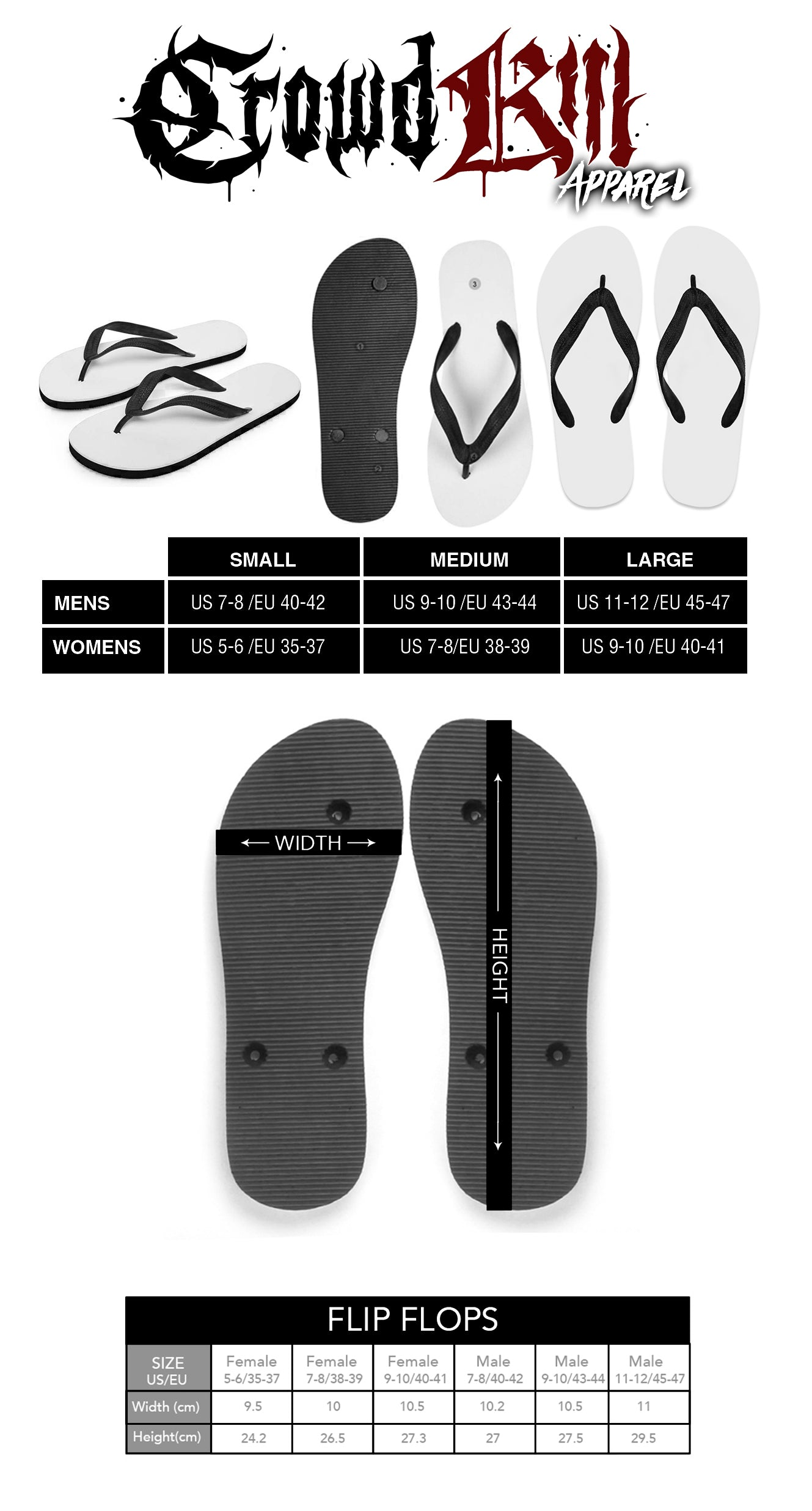 Crowdkill Apparel Flip-Flops Size Guide