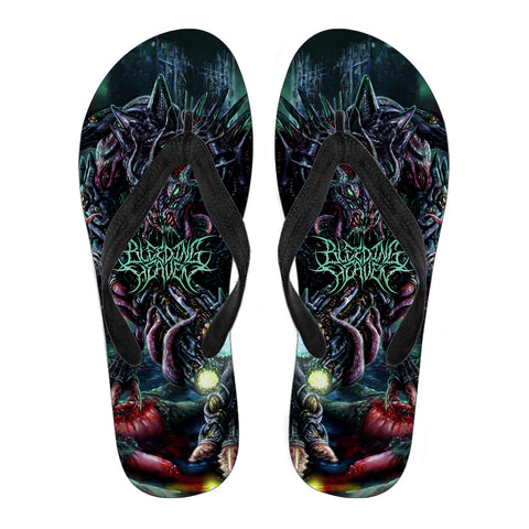 Official Bleeding Heaven Evolutionary Descendant of Brutality Flip Flops - Crowdkill Apparel Death Metal Deathcore Hardcore Slam Merchandise