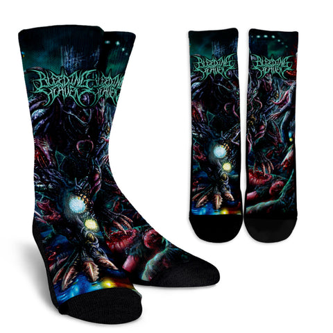 Official Bleeding Heaven Evolutionary Descendant of Brutality Socks - Crowdkill Apparel Death Metal Deathcore Hardcore Slam Merchandise