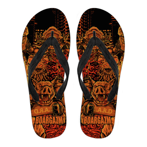 Official Boargazm Space Pigs Flip Flops - Crowdkill Apparel Death Metal Deathcore Hardcore Slam Merchandise