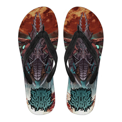 Official Gamma Sector Nex Omne Flip Flops - Crowdkill Apparel Death Metal Deathcore Hardcore Slam Merchandise