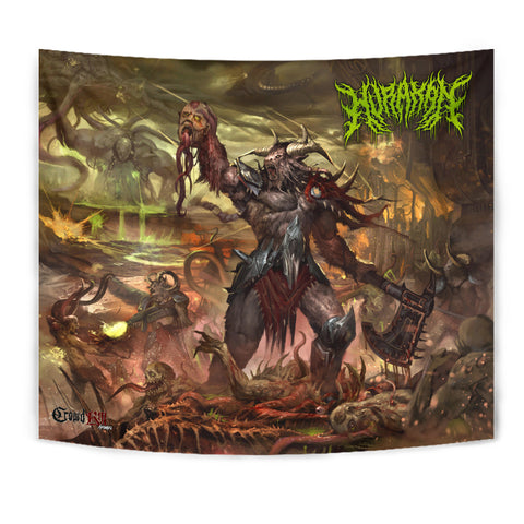 Official Hurakan Abomination Of Aurokos Giant wall Flag - Crowdkill Apparel Death Metal Deathcore Hardcore Slam Merchandise