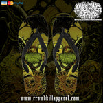 Official Bleeding Spawn Xenominions Flip Flops - Crowdkill Apparel Death Metal Deathcore Hardcore Slam Merchandise