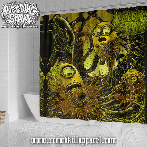 Official Bleeding Spawn Xenominions Shower Curtain - Crowdkill Apparel Death Metal Deathcore Hardcore Slam Merchandise