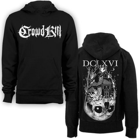 """DCLXVI"" Burning Church Pull Over Hoodie - Crowdkill Apparel"