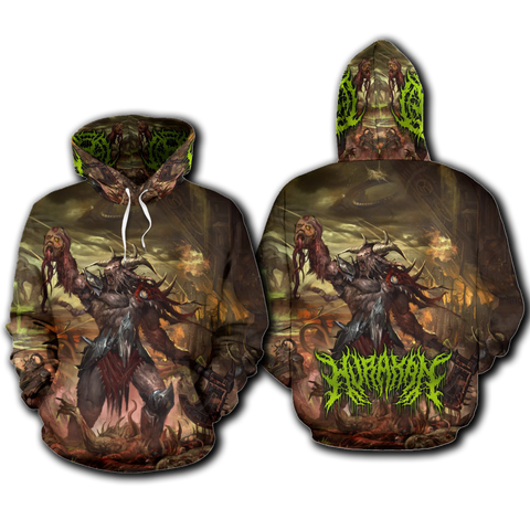 Official Hurakan Abomination Of Aurokos Pullover - Crowdkill Apparel Death Metal Deathcore Hardcore Slam Merchandise