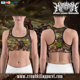 Official Hurakan Abomination Of Aurokos Sports Bra - Crowdkill Apparel Death Metal Deathcore Hardcore Slam Merchandise