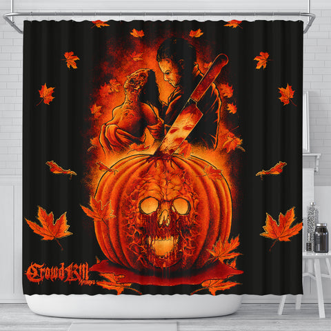 Official Crowdkill Apparel Halloween Slaughter Shower Curtain - Crowdkill Apparel Death Metal Deathcore Hardcore Slam Merchandise