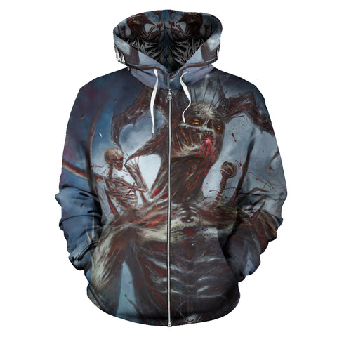 Official Shrine Of Malice Malignance Zip-Up Hoodie - Crowdkill Apparel Death Metal Deathcore Hardcore Slam Merchandise
