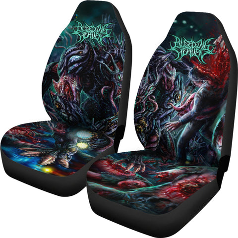 Official Bleeding Heaven Evolutionary Descendant of Brutality Car Seat Covers - Crowdkill Apparel Death Metal Deathcore Hardcore Slam Merchandise