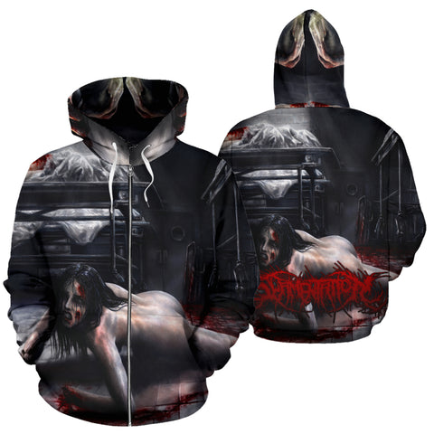 Official Slamentation Crawling Through The Morgue Zip-Up - Crowdkill Apparel Death Metal Deathcore Hardcore Slam Merchandise