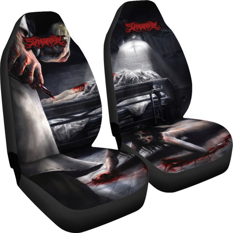 Official Slamentation Crawling Through The Morgue Car Seat Cover - Crowdkill Apparel Death Metal Deathcore Hardcore Slam Merchandise