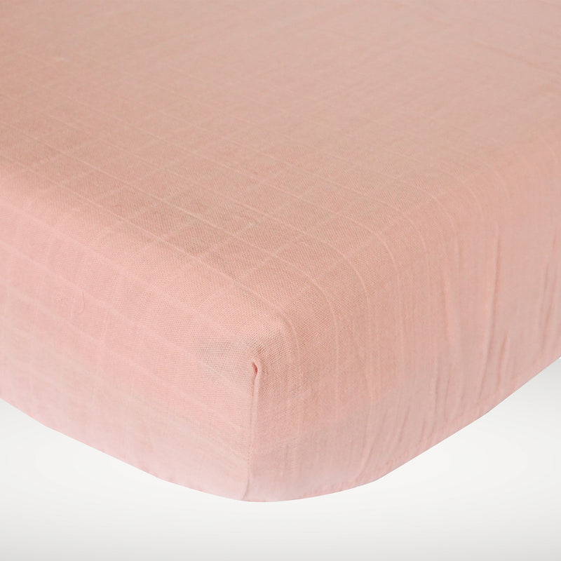 Muslin Cotton Crib - Misty Pink Fitted Sheet