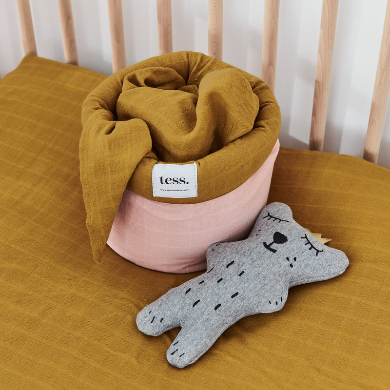 Muslin Cotton - Misty Pink & Amber Basket
