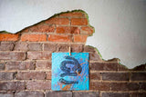 Snake No More Linocut Print (blue)