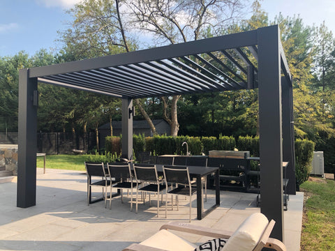 Peaceful Patios Contemporary Fiberglass Pergola with Fixed Louvered Rafters Angled