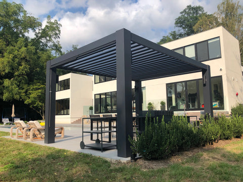 Peaceful Patios Contemporary Fiberglass Pergola with Fixed Louvered Rafters Corner