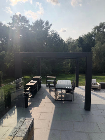 Peaceful Patios Contemporary Fiberglass Pergola with Fixed Louvered Rafters Side 2