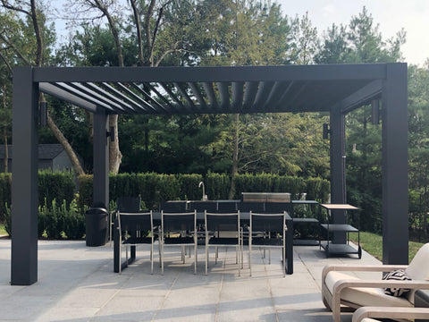 Peaceful Patios Contemporary Fiberglass Pergola with Fixed Louvered Rafters Side
