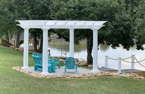 Image of White Fiberglass Pergola with Round Columns on waterfront