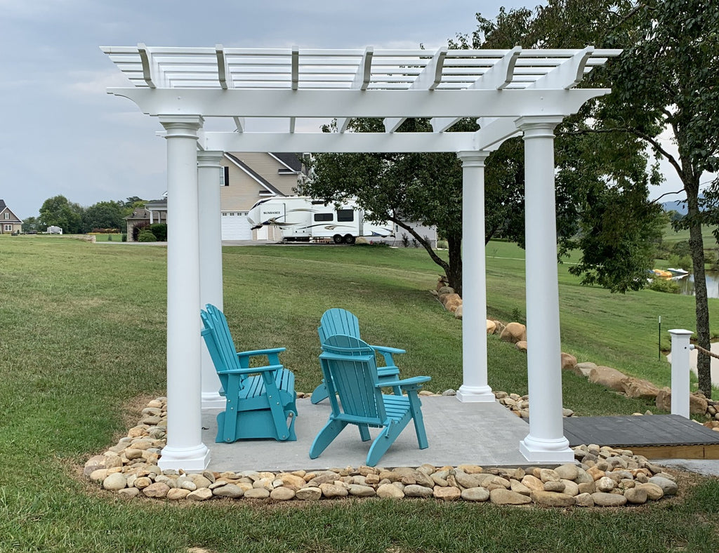 White Fiberglass Pergola with Round Columns on waterfront - side view