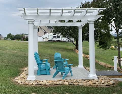 Image of White Fiberglass Pergola with Round Columns on waterfront - side view
