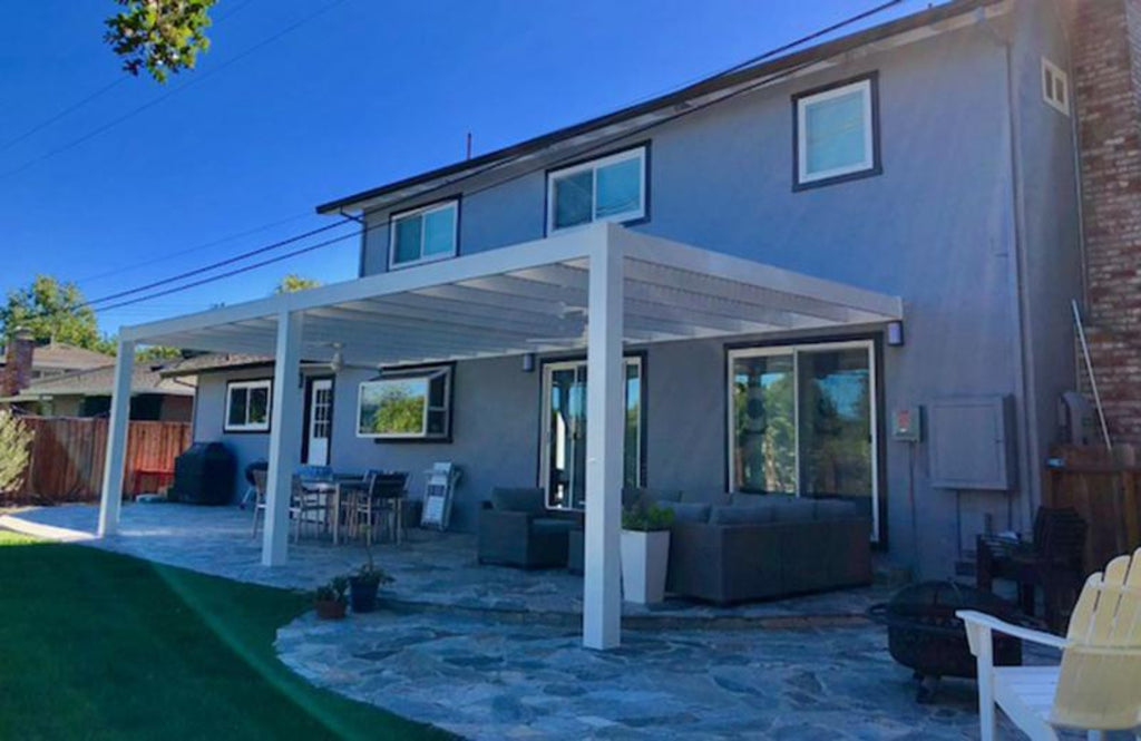 Modern Attached Vinyl Pergola Side 2 View