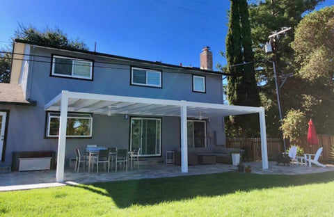 Image of Modern Attached Vinyl Pergola Front View