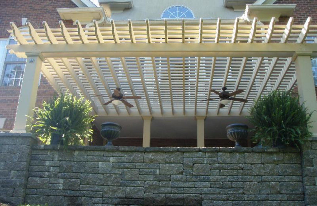 Attached Fiberglass Pergola with Square Columns Centered View