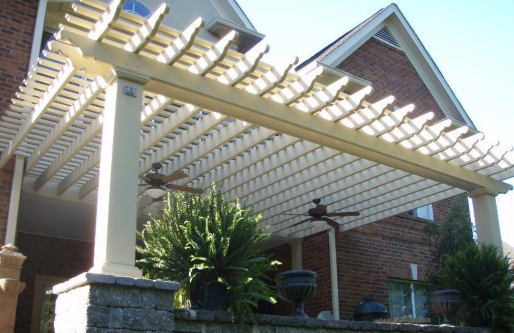 Attached Fiberglass Pergola with Square Columns