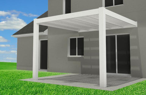 Image of Peaceful Patios Attached Contemporary Vinyl Pergola - White