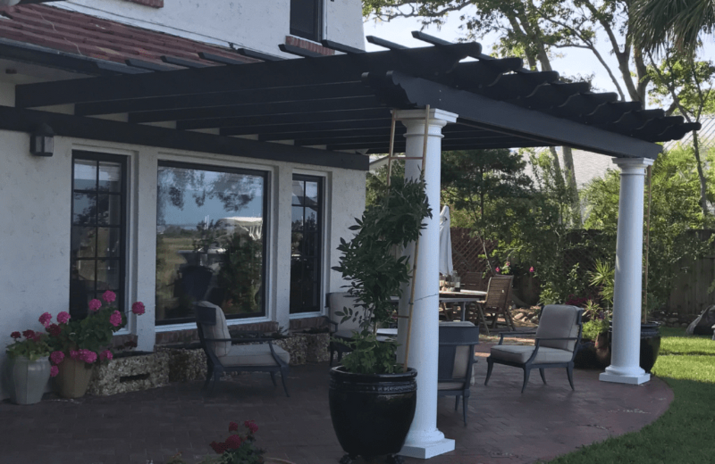 Peaceful Patios Attached Fiberglass Pergola - Round Columns