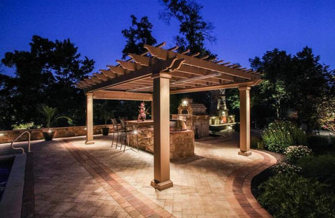Image of Peaceful Patios Freestanding Fiberglass Pergola - Square Columns