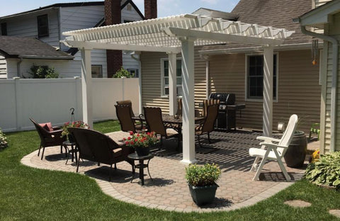 Image of Peaceful Patios Peaceful Patios 10' x 10' Freestanding Vinyl Pergola