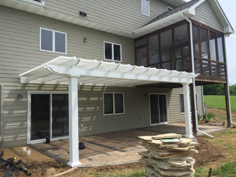 Image of Peaceful Patios Peaceful Patios 12' x 12' Attached Vinyl Pergola