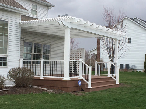Image of Peaceful Patios Peaceful Patios 16' x 16' Attached Vinyl Pergola